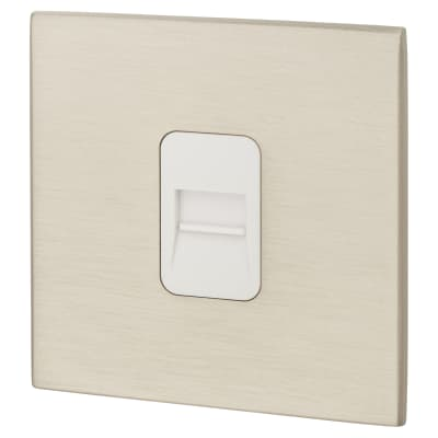 Hamilton 1 Gang Screwless Telephone Secondary - Satin Stainless with White Inserts