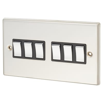 Contactum 6 Gang 2 Way 10AX Switch - Polished Steel with Black Inserts
