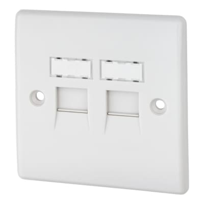 BG 2 Gang RJ45 Data Socket - IDC Type - White