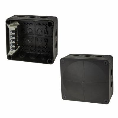 Wiska IP66 81mm Connection Box - Black