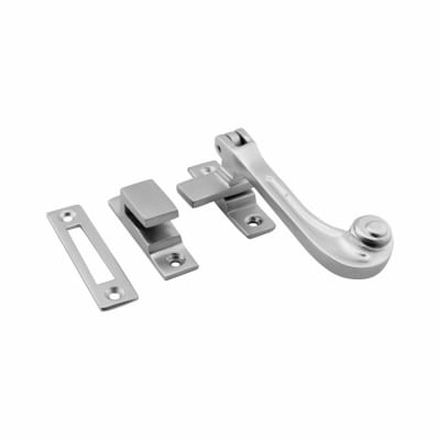 Hampstead Solid Curl Hook & Plate Window Fastener - Soft Satin Chrome