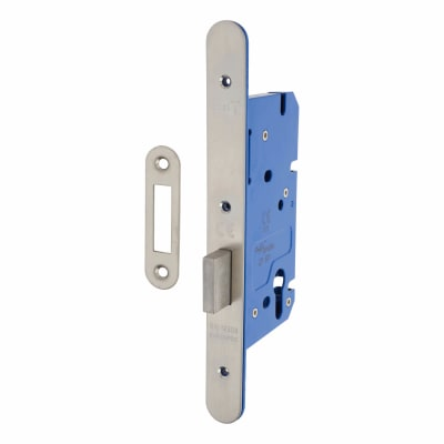A-Spec Architectural DIN Euro Deadlock - 85mm Case - 60mm Backset - Radius - Satin Stainless