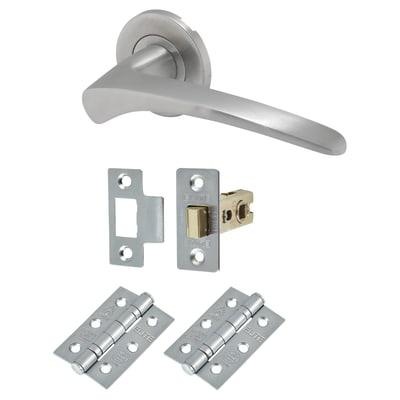 Altro Swept 1 Style Lever Door Handle on Rose - Door Kit - Satin Stainless Steel