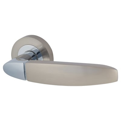 Touchpoint Isobel Lever Door Handle on Rose - Polished/Satin Chrome