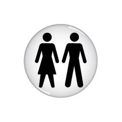 Unisex Toilet Door Sign - Domed - 60mm