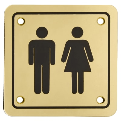 Unisex Square Toilet Door Sign - 100 x 100mm - Brass Plated