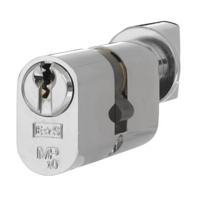 Eurospec MP10 - Euro Cylinder and Turn - 32[k] + 32mm - Polished Chrome  - Keyed to Differ