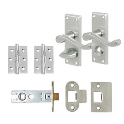 Aglio Victorian Scroll Handle Door Kit - Short Latch Privacy Set - Satin Chrome