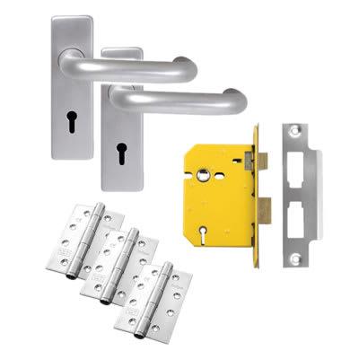 Lever on Backplate Door Kit - 5 Lever Sashlock - Aluminium