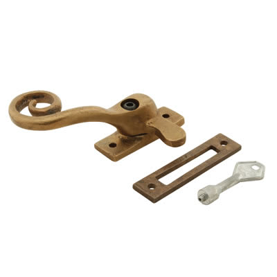 Louis Fraser Locking Curly Tail Window Fastener - Left Hand - Oil Rubbed Bronze