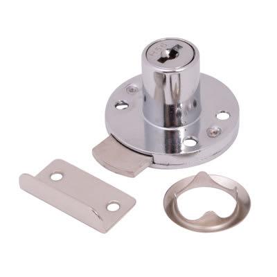 Round Drawer Lock - 16.5 x 20mm - Chrome Plated