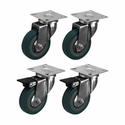 Coldene General Purpose Castor - Swivel Braked - 165kg Maximum Weight - Grey - Pack of 4