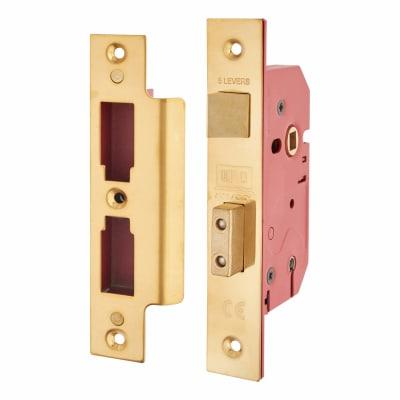 UNION® 2201 5 Lever Sashlock - Keyed Alike - 65mm Case - 44.5mm Backset - Brass
