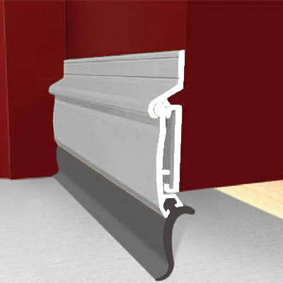 Exitex Automatic Rise and Fall Door Draught Excluder - 914mm - Inward Opening Doors - Mill Aluminiu