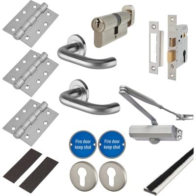 Light Duty Door Handle on Rose Fire Door Kit - Euro Sashlock - Satin Stainless
