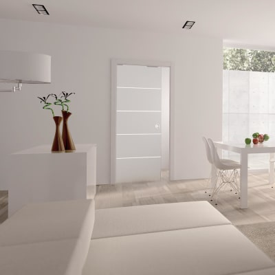 Eclisse 8mm Righe Patterned Glass Single Pocket Door Kit - 100mm Wall - 762 x 1981mm Door Size