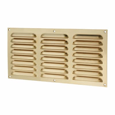 Hooded Louvre Vent - 305 x 152mm - 9975mm2 Free Air Flow - Polished Brass