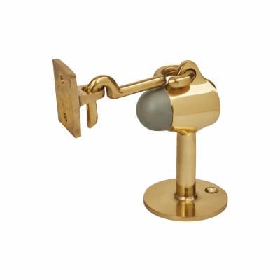 Vertical Door Stop/Holder - 90 x 51mm - Polished Brass