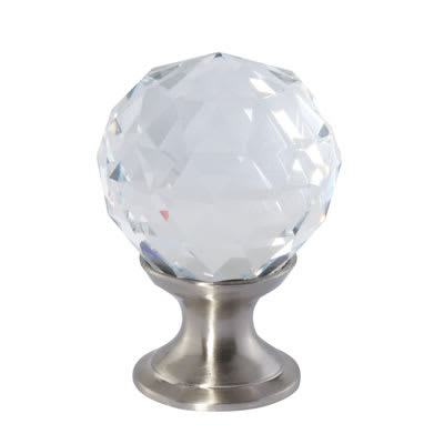 Aglio Cut Glass Cabinet Knob - 25mm - Satin Nickel