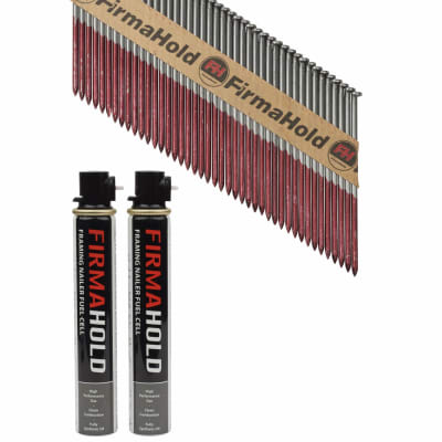 TIMco 34° FirmaHold Clipped Head Nail and Gas - First Fix - 3.1 x 90mm - Bright - 2 Fuel Cells