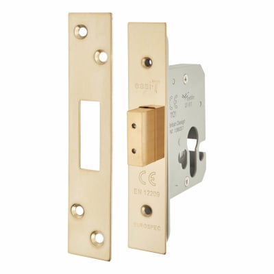 A-Spec Architectural Euro Profile Deadlock - 65mm Case - 44mm Backset - PVD Brass