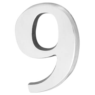 50mm Numeral - 9 - Polished Aluminium