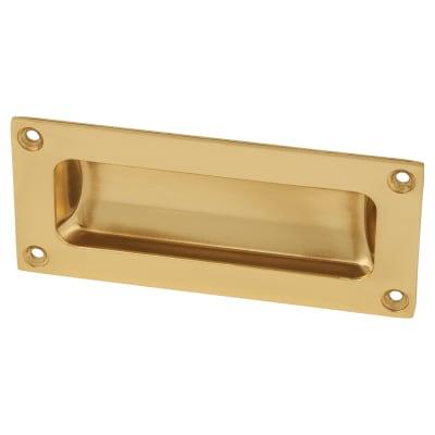 Rectangular Flush Aluminium Door Pull - 102 x 45mm - Polished Brass