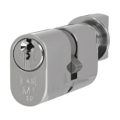 Eurospec MP10 - Oval Cylinder and Turn - 35[k] + 35mm - Polished Chrome  - Keyed to Differ