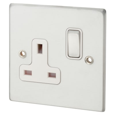 Hamilton 13A 1 Gang Switched Socket - Satin Chrome with White Inserts