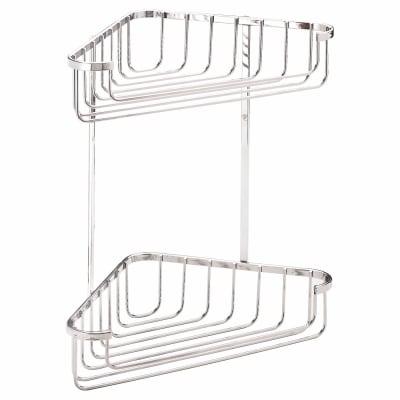 Croydex Wirework Shower Medium Corner Basket - Two Tier - Mild Steel
