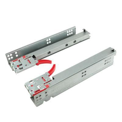 Motion Base Mount Drawer Runner -  Soft Close - Double Extension - 500mm - Zinc
