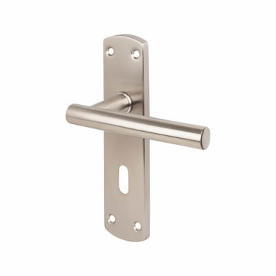 Steelworx Mitred-T CSL Door Handle - Lock Set - Satin Stainless Steel