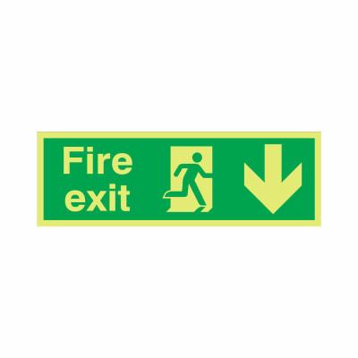 NITE-GLO Fire Exit Running Man - Arrow Down - 150 x 450mm