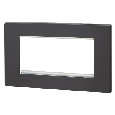Hamilton 4 Module Screwless Euro Plate - Black