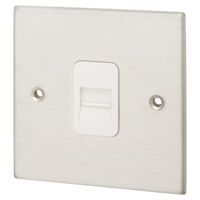 Hamilton 1 Gang Telephone Secondary Socket - Satin Stainless with White Inserts