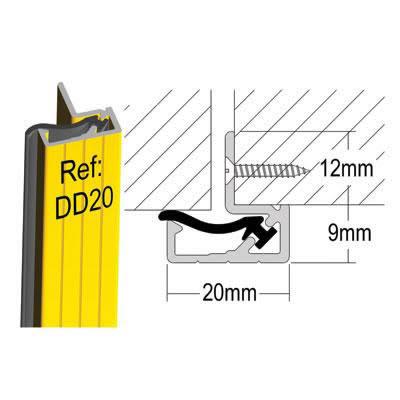 Stormguard Double Door Seal DD20 - 2100mm - Black