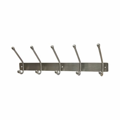 Jedo Hat & Coat Hook Rail - 5 Hooks - Satin Stainless Steel