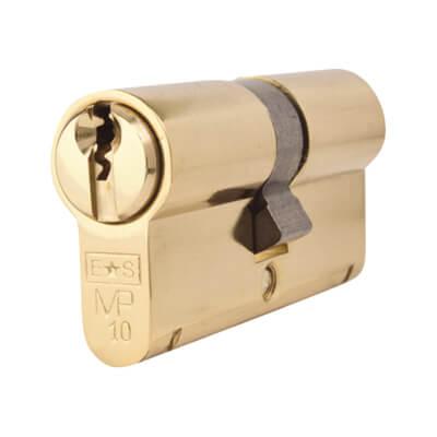 Eurospec MP10 - Euro Double Cylinder - 32 + 32mm - Polished Brass  - Keyed Alike