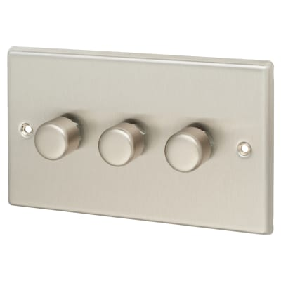 Contactum 4W 3 Gang 2 Way Dimmer Switch - Brushed Steel