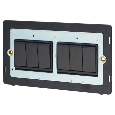 Click Scolmore 10AX 6 Gang 2 Way Plate Switch Insert - Black