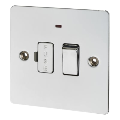 BG 10A Flatplate Switched Fused Connection Unit with Neon - Polished Chrome