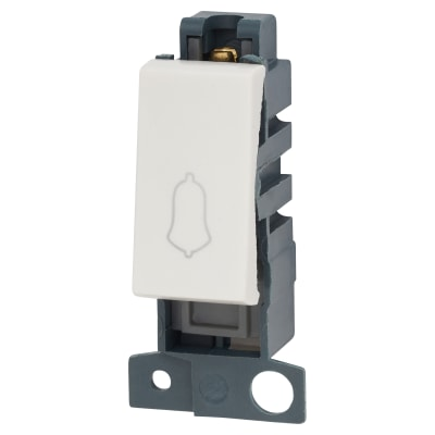 Click Scolmore MiniGrid 10A 1 Way Retractive Bell Switch Module - White