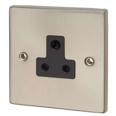 Click Scolmore 5A Round Pin Socket - Satin Chrome with Black Insert