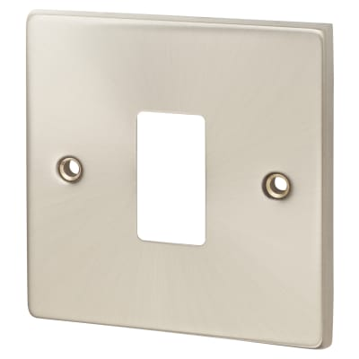 Click Scolmore GridPro 1 Gang Deco Front Plate - Satin Chrome
