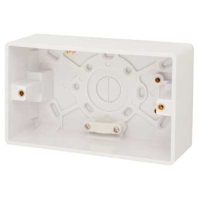 Click Scolmore 2 Gang 47mm Pattress Box with Cable Restraint & Earth Terminal - White