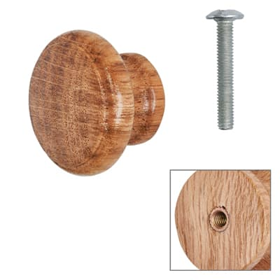 Touchpoint Wooden Cabinet Knob - Light Oak Lacquered - with Bolt & Insert - 30mm - Pack 5