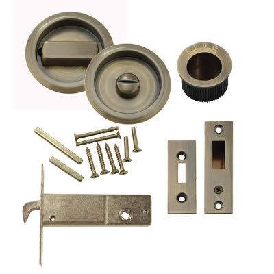 Klug Round Flush Privacy Set with Bolt - Antique Brass