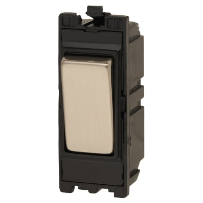 Contactum 20AX 1 Way Double Pole Grid Switch - Black