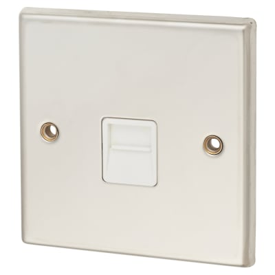 Contactum Telephone Secondary Socket - Polished Steel with White Inserts