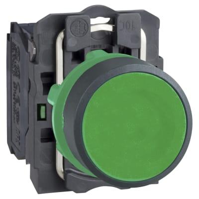 Schneider XB5 Series Flush Push Button 1NO - Green